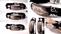 Mens Leather Bracelet Cuff Wrap Surfer Black Brown Stainless Steel Tribal Rubber