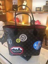 Auth New Louis Vuitton Neverfull MM World Tour Stickers Limited Edition Bag