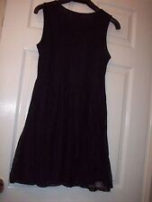 Stunning LADIES  SMALL DRESS BLACK LACE EVENING SLEEVELESS  LINED sz 14 NEW