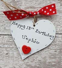 Personalised Wooden Birthday Heart Plaque 18th 21st  30th 40th 50th Gift Present