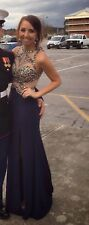 Womens Alyce ball/prom dress size 2 navy with gold beading open back detail