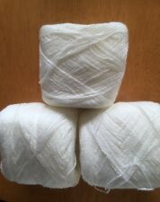 Lace yarn Crystal Color 9 Off White Acrylic/Rayon. 900 yards Each.1 lot of 3.