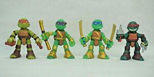 TMNT Mini Figure Lot of 4 2016 Viacom 2.5 inch GOLD Teenage Mutant Ninja Turtles