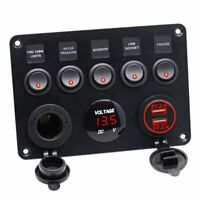 5 Gang 12V Inline Fuse Box LED Switch Panel Dual USB Car Boat Truck Caravan AU