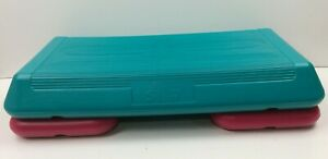 """Original Classic """"The Step"""" Home Trainer Step w/Risers Neon Pink/Teal Aerobics"""