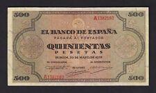 F.C. 500 PESETAS 1938 , SERIE A , MBC+ , RESTAURACIONES EN MARGENES .