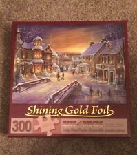 Bits And Pieces 300 Piece Puzzle With Shining Gold Foil Called Holiday Village