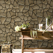 Vintatge Stone Wallpaper Rolls Taupe Brick Realistic Designer Home Interior Deco
