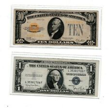 1928 $10 Gold Certificate &1935D $1 Silver Certificate note lot of 1 each