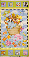 """Noahs Ark Animal Nursery Baby Cotton Fabric HG&Co Two By Two  ~ 24""""X44"""" PANEL"""