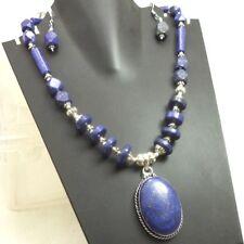 Lapis Lazuli  Necklace Gemstone Handmade Silver Plated Jewellery
