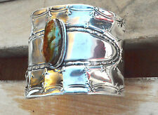Tiffany Sterling Silver Cuff Bracelet Genuine Green Royston Turquoise Arizona