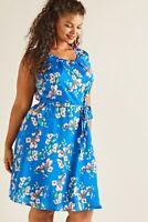 Blue Yumi Curves Spring Flower Print Skater Dress