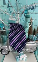 Tiffany&Co Silk Neck Tie Navy Purple White Striped Men's Business Attire Italy