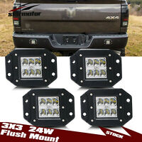 2Pair Flush Mount 24W LED Backup Driving Pods Cube Light Chevy Silvera 2500