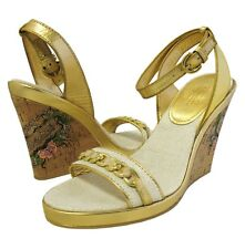 New COACH ELLETE Womens Gold Open Toe Wedge Cork Heels Sandals MSRP $99 Size 7