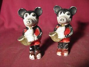 Lot of 2 1930's Walt Disney Enterprises Mickey Mouse Sax Players Bisque Figurine