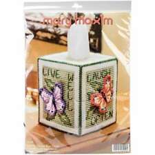 """Butterfly Tissue Box Plastic Canvas Kit 5"""" 7 Count 848787005890"""