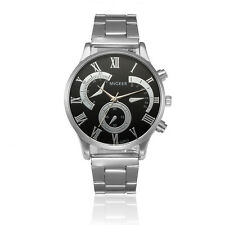 Men Casual Crystal Stainless Steel Analog Quartz Wrist Watch