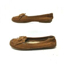 Minnetonka Moccasin Kilty Loafer Boat Shoes Suede Leather Brown Womens 6.5