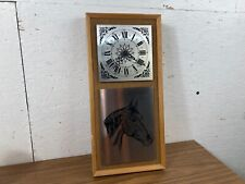 Vintage 1970's  Horse Wall Clock with Wooden Surround and Material Back