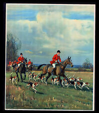 """VINTAGE 1931 """"A MERRY CHASE"""" FOX HUNTING HORSE DOGS CALENDAR ART PRINT"""