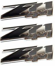 THREE- BLACK Z71 4x4 Emblem 3M Universal Stick On Chevy Silverado Tahoe Suburban