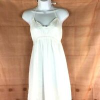Old Navy White Cotton Crinkle Gauze Lined Halter Top Maxi Dress Size Medium