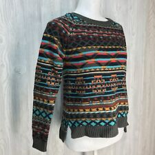 Forever 21 Southwest Aztec Pullover Sweater S/P Teal Green Red Crewneck Boho