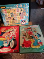 Lot of 3 Vintage  Frame Tray Puzzles Huckleberry Hound Bugs bunnny Jarmar