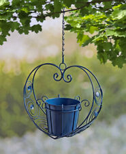 Decorative Metal Scrollwork Heart Hanging Planter Pots Blue Gray White