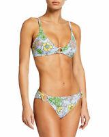 Tory Burch Women's Blue Floral O-Ring Bikini Top