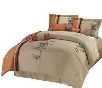 7-Piece Bamboo Embroidery Comforter Set, Rust, Black, Light Taupe