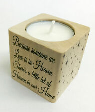 Beautiful Bereavement Remembrance Tea Light Holder Heaven in our Home Candle