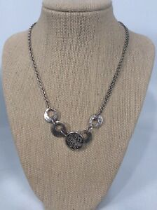 Lois Hill Bali Indonesia sterling Silver 925  Circle pendant Toggle Necklace