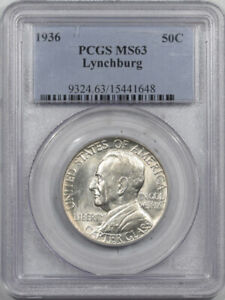 1936 LYNCHBURG COMMEMORATIVE HALF DOLLAR - PCGS MS-63