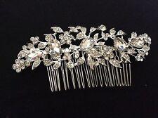 Tiara Brida De Boda Baile de Graduación Diamantes de imitación de cristal elegante Clip peine de cabello Plateada HA003