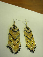 "Seed  Bead Earrings NEW long Gold /gold and black  3 1/4 "" handcrafted"