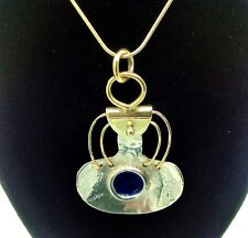 Super hand crafted one off enamel, 9 Karat gold and sterling silver pendant.
