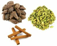 Black Cardamom Pods 50g- Green Cardamom Pods 100g- Cinnamon Quills 100g (3 Pack)