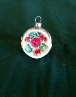 Vintage Pink Green Red Mercury Glass Deep Indent Painted Christmas Ornament