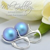 *PEARL* 925 EARRINGS MADE WITH SWAROVSKI CRYSTALS 10/12mm -IRIDESCENT LIGHT BLUE