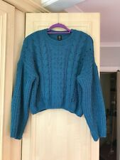 Urban Outfitters Blue Teal Knit Chenille Jumper Size Small