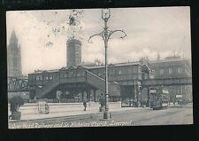 Lancashire LIVERPOOL Overhead railway St Nicholas Church Tram #40 1904 PPC