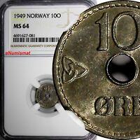 Norway Haakon VII Copper-Nickel 1949 10 Ore NGC MS64 KM# 383