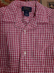Ralph Lauren Boys' Red Gingham Short Sleeve Camp Shirt, Size 3/3T