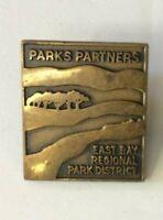 Vtg East Bay Regional Park District Park Partners Lapel Pin Pinback Gold Metal