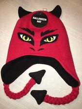 Halloween Hat Beanie Red & Black Devil Ear flap Hat Kids 12+ NWT