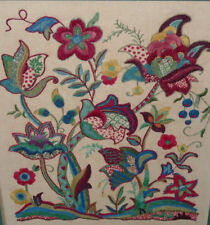 """Old Jacobean Crewel Embroidery Floral Wall Art Needs Cleaning 27"""" Handcrafted"""