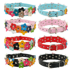 Flower Studded Dog Collar Puppy Pet Collor Female/Girl Dog Leather Necklace S M